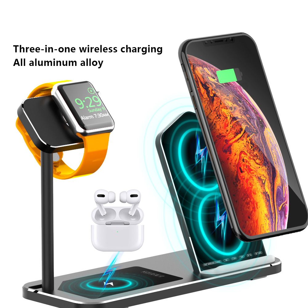 3 en 1 QI chargeur sans fil pour Airpods Pro iPhone Apple iWatch montre série 5 chargeur Dock alliage d'aluminium socle de charge title=