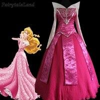 Sleeping Beauty Princess Aurora Pink Dress Fancy Adult Women Halloween Cosplay Costume Flowers Aurora Outfit