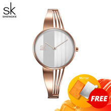 Shengke Mode Gold überzogene Frauen Uhren Charme Damen Armbanduhr Armband Quarzuhr Frauen Montre Femme Relogio Feminino