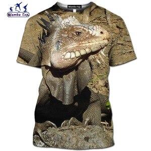 3D drukuj lato z krótkim rękawem słodkie zwierząt jaszczurka koszula moda śmieszne kameleon męskie koszulki wąż Hip-Hop O-Neck Streetwear tee