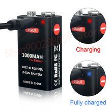 9 V 1000mAh akumulator litowo-jonowy akumulator do ładowania przez Micro USB baterie 9 v litowo do multimetru mikrofon zabawka pilot KTV wykorzystanie