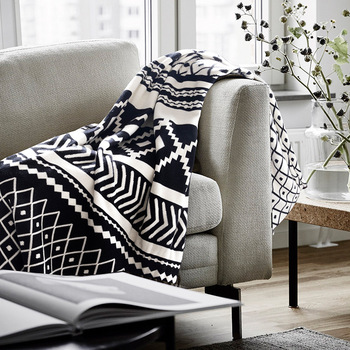 2019 New Cotton Black and White Jacquard Nordic Knitting Line Blanket Blanket Sofa Blanket 130*180CM