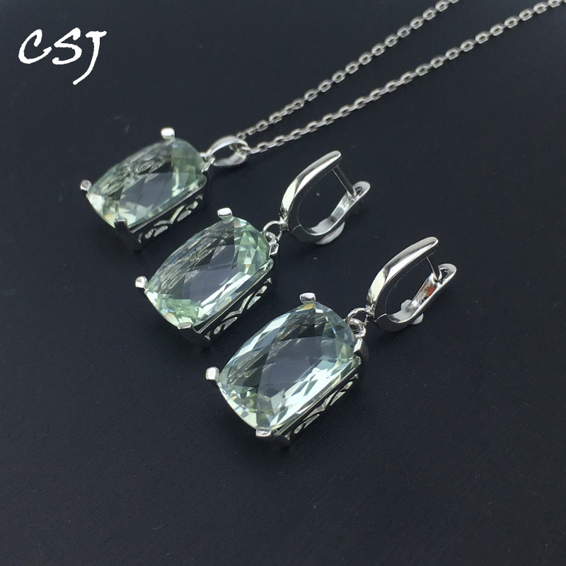 CSJ Natural Green Amethyst Jewelry Sets 925 Sterling Silver For Women Lady Wedding Engagment Party Gift Box Sets