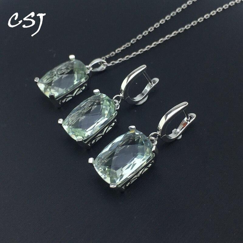 CSJ naturel vert améthyste bijoux ensembles 925 en argent Sterling pour les femmes dame mariage engagement fête cadeau boîte ensembles