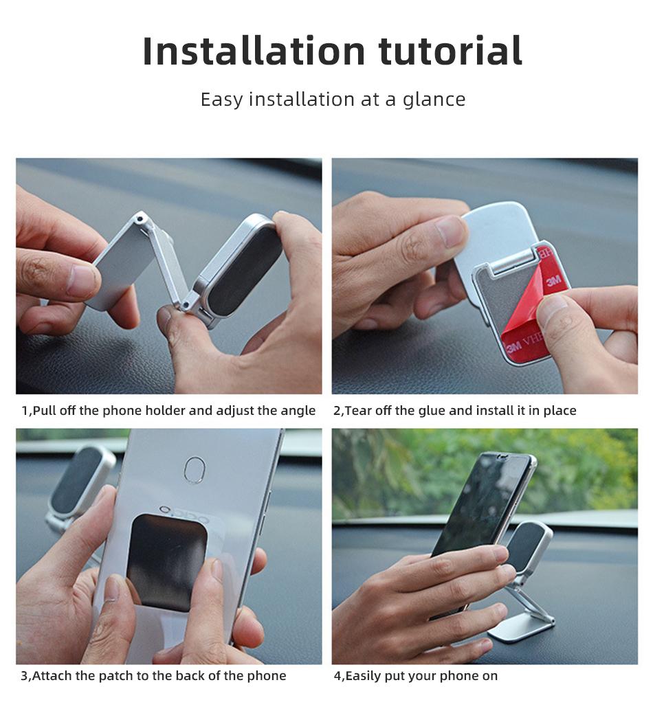 !ACCEZZ Car Magnetic Holder Phone Stand For 11 X Center Console Folding Adjustable Magnet Support Desktop Bracket (14)
