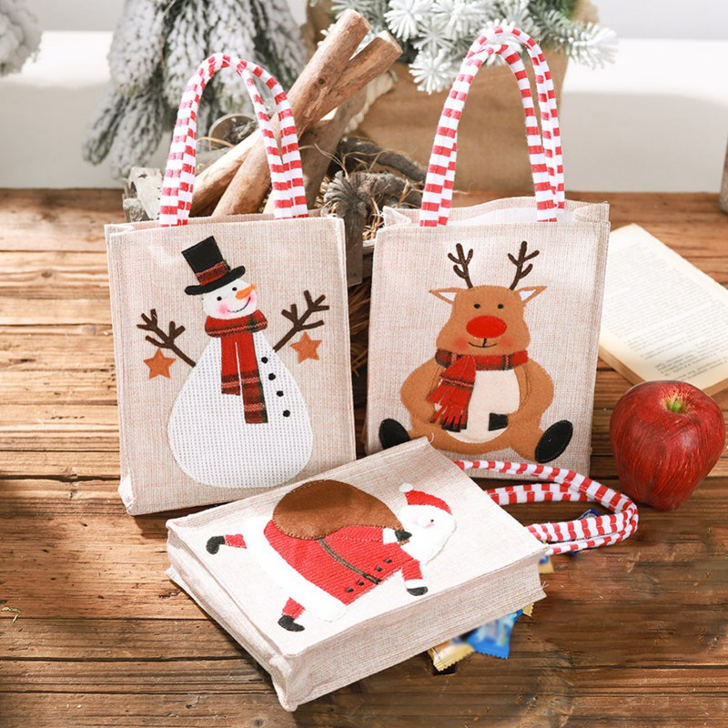New Portable Linen Stereo Embroidered Christmas Gift Bag Children Candy Gift Bag Cute Santa Tote Christmas Storage Bag #j