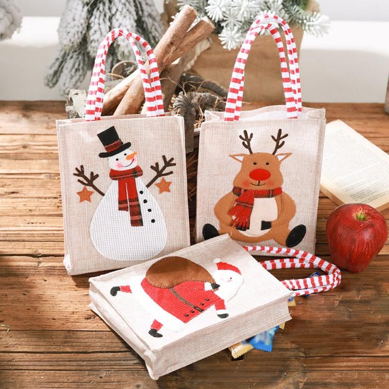 New Portable Linen Stereo Embroidered Christmas Gift Bag Children Candy Gift Bag Cute Santa Tote Christmas Storage Bag #j
