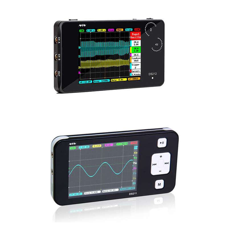 New MINI DS211 DS212 1MHz Pocket 8MB Handheld Automotive Osciloscope Nano Pocket LCD Digital Multimeter Oscilloscope