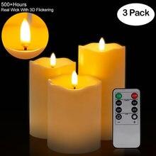 3 Teile/satz Fernbedienung LED Flammenlose Kerze Lichter Neue Jahr Kerzen Batterie Powered Led T Lichter Ostern Kerze Mit verp
