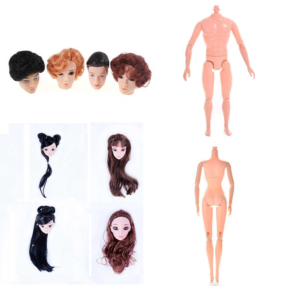 1PCS ตุ๊กตาไม่มีหัวตุ๊กตาชายหญิงเปลือยกายที่จำเป็นสำหรับ DIY ข้อต่อ Moveable ของเล่นตุ๊กตาผมสำหรับ