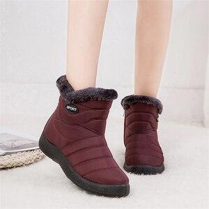 Image 1 - JIANBUDAN 캐주얼 스노우 부츠 여성 겨울 플러시 따뜻한 큰 크기 코 튼 부츠 방수 두꺼운 따뜻한 장화 봉 제 신발 35 43