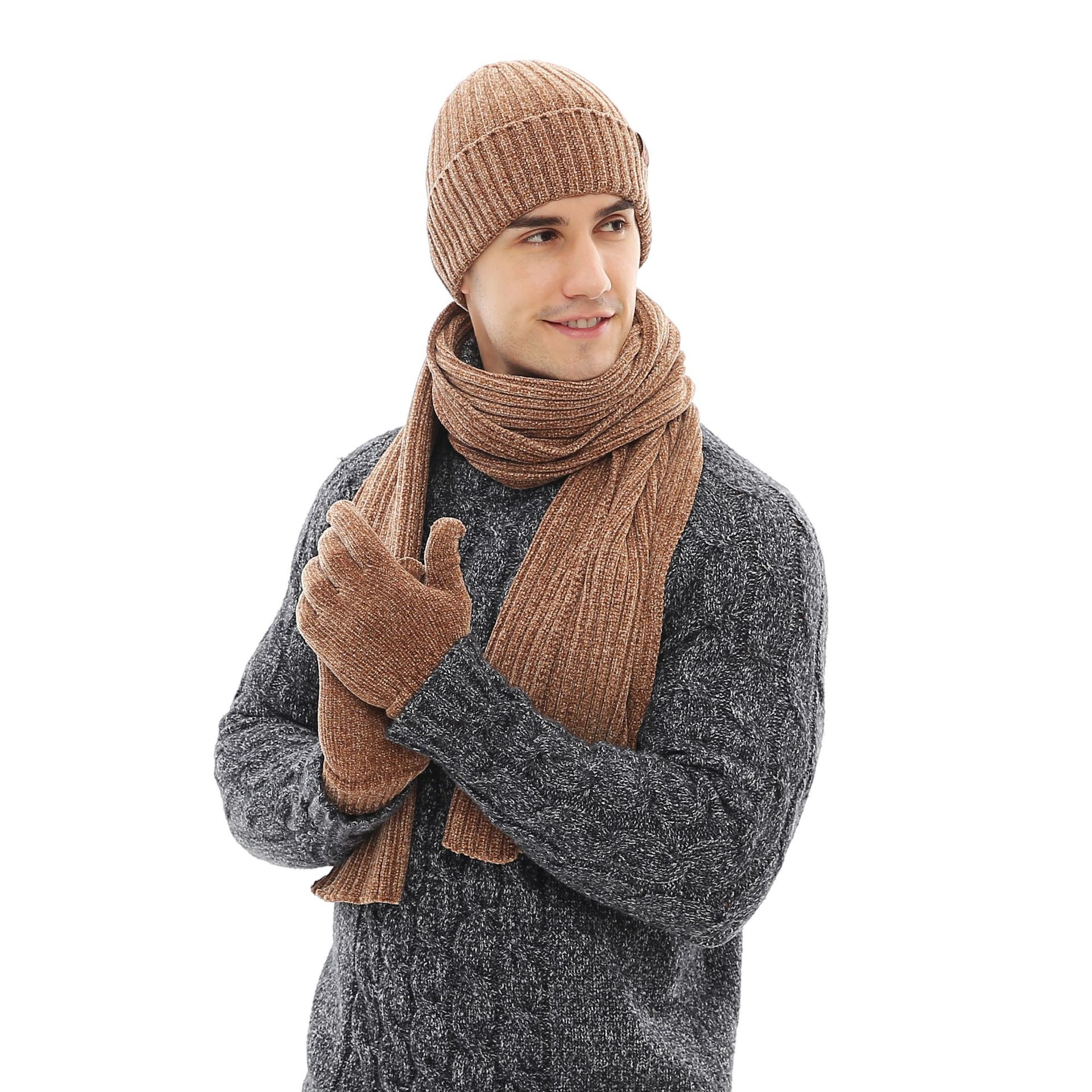 Fashion  Men's Wool Three-piece Mixed Color Knit Hat Scarf Gloves Set Scarf And Hat Set  Mink Cap Scarf  Hat Set  Scarf Hat