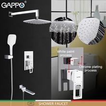 GAPPO Shower Faucets white bathroom faucet mixer rainfall shower set waterfall shower system torneira do chuveiro