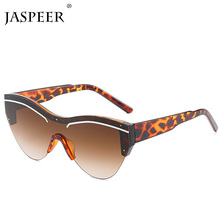 JASPEER New Rimless Sunglasses Men Women Fashion Style Black
