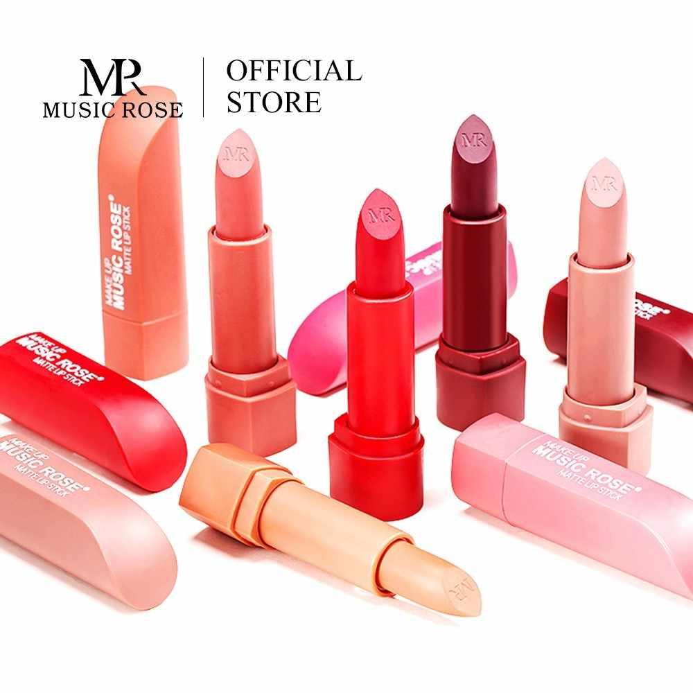Música Rosa labios coreanos maquillaje lápiz labial rojo mate de larga duración 12 colores lápiz labial impermeable mujeres maquillaje regalo para chica