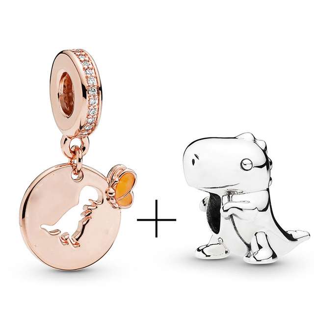 Dinosaur Simba Rotating Earth Beads fit Pandora Charms Bracelet Necklace for Women Jewelry Making Ladies Jewelry Accessories