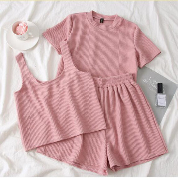 Heliar Pink O-Neck T-Shirt And Shorts And Camis Women Three Pcs Sets Pants Sets Femme Female Outfits 2020 Summer Suits Women