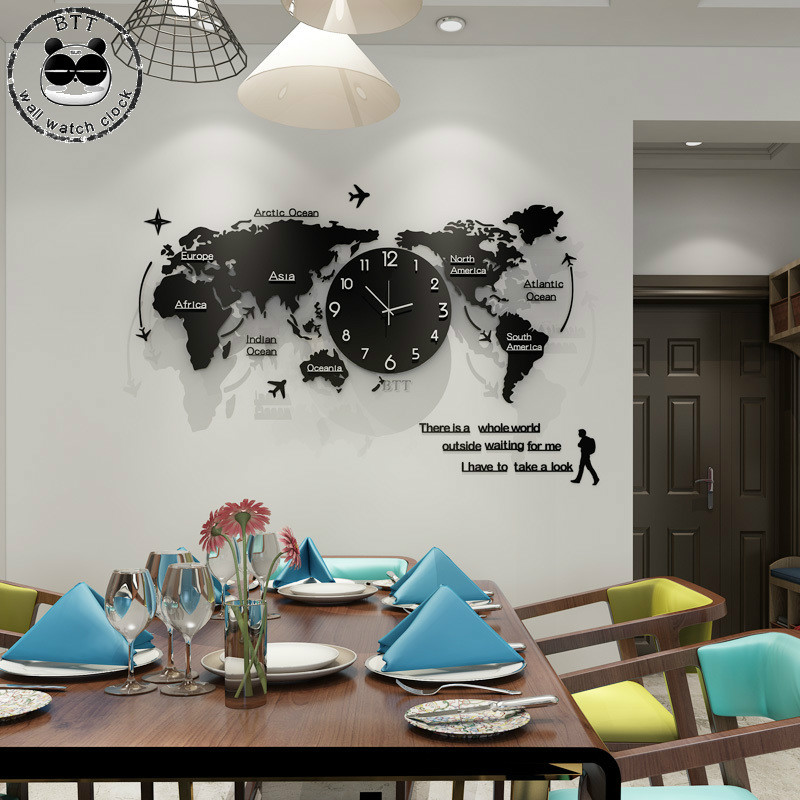 Creative 3D World Map Large Wall Clock Plane Modern Design Acrylic Ultra Quiet Large Decorative Wall Clocks