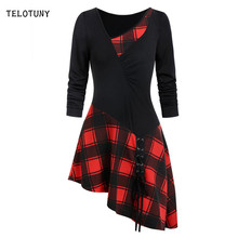 TELOTUNY Long Sleeve Patchwork Women Blouse Strappy Asymmetrical Skew Neck Ruched Lace Up Plaid Ladies Fashion T-shirts 19L0723(China)