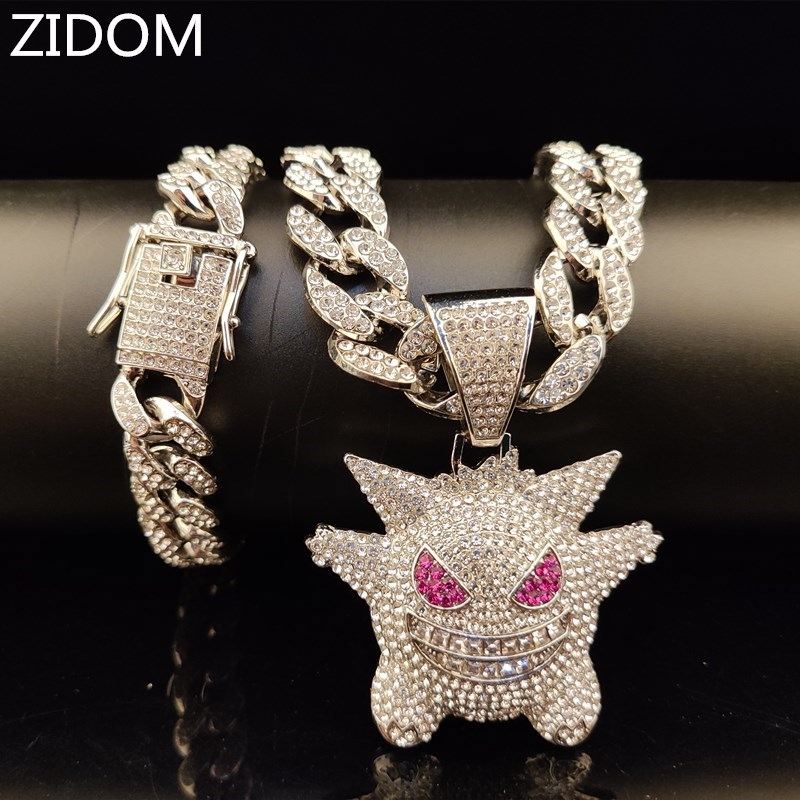 Men Hip hop iced out bling bling Gengar pendant with bracelets 15mm width cuban chain Hiphop necklace jewelry fashion gifts