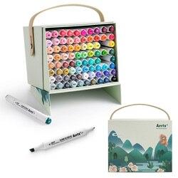 Arrtx 80 ألوان نابضة بالحياة مجموعة من الكحول ماركر ALP نصائح مزدوجة قلم تحديد لرسم بطاقة رسم تصميم للفنون الأشغال الفنية t