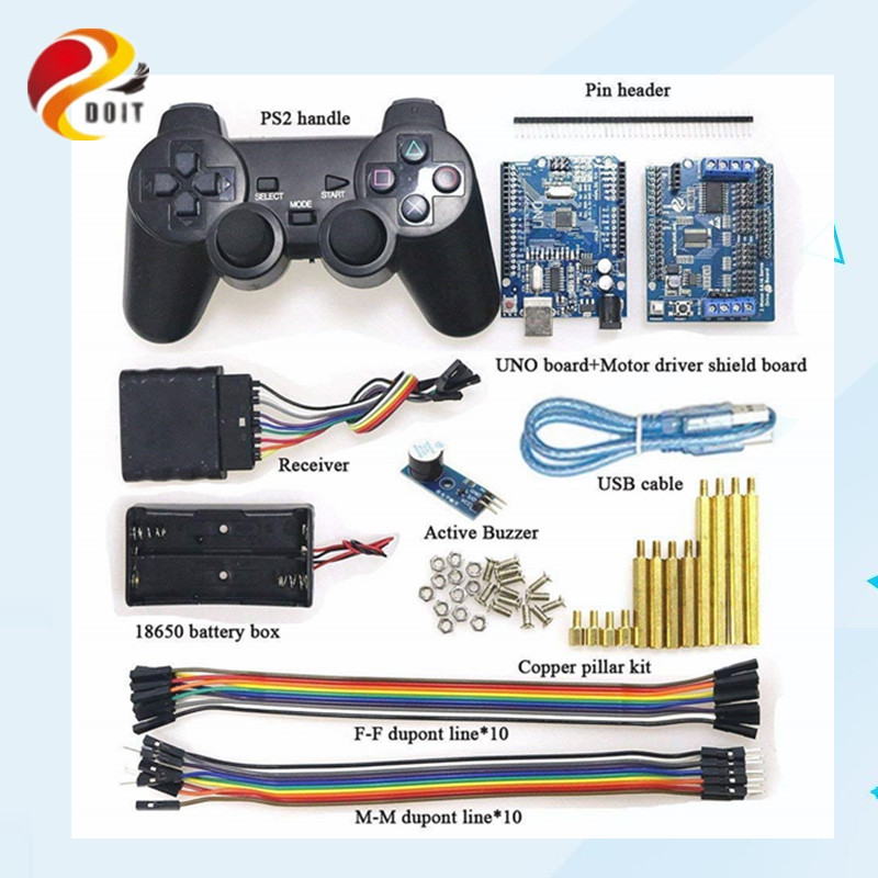 Wireless Handle Control RC Kit with UNO Board+ Motor Drive Shield Board+ handle for Arduino Robot Tank <font><b>Car</b></font> <font><b>Compatible</b></font> with PS2 image