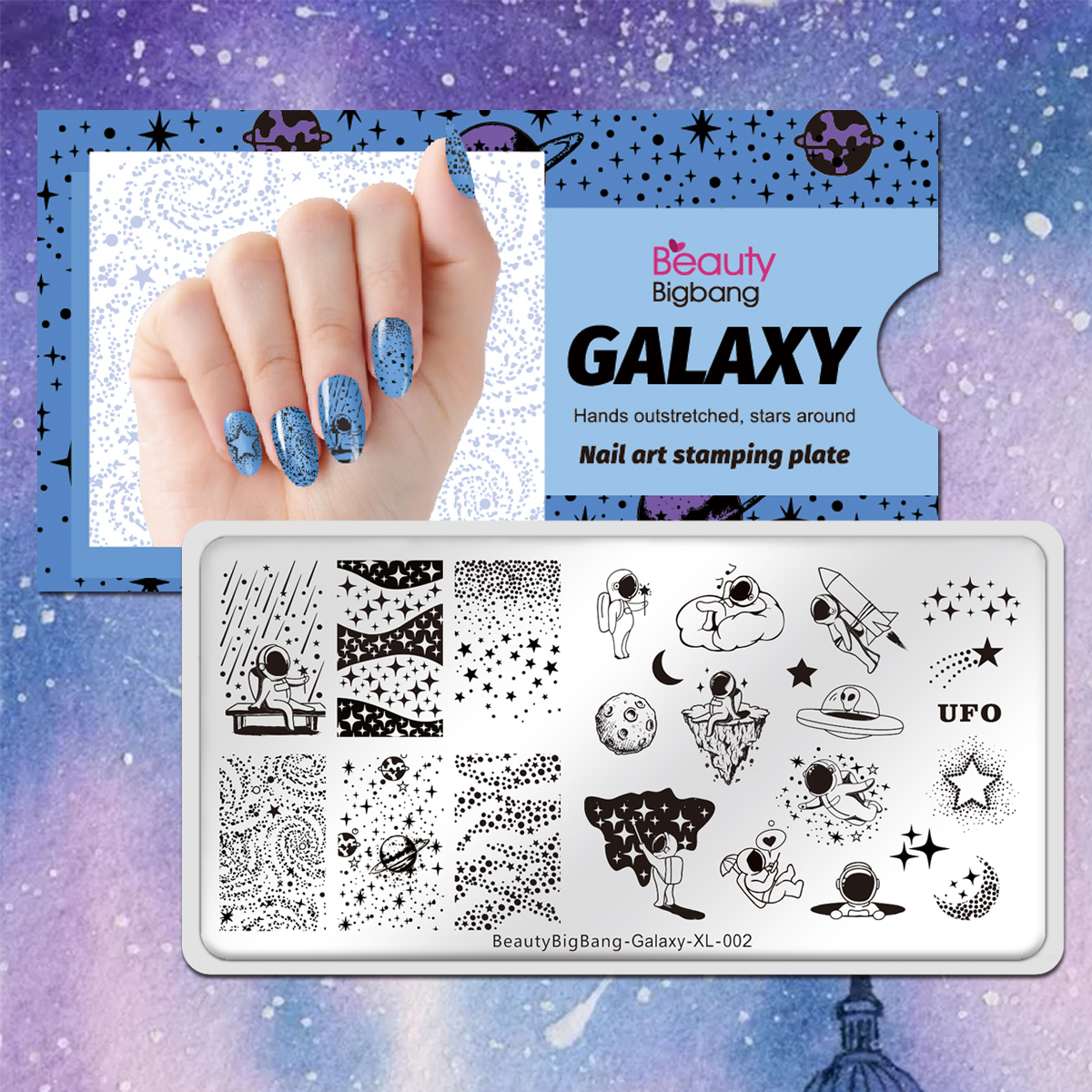 Beautybigbang placas de carimbo galaxy 002 estrelas céu universo astronauta imagem 6*12cm de aço inoxidável arte do prego stencil modelo