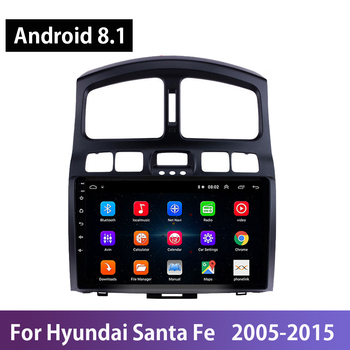 Android 8.1 Autoradio Tape Recorder For Hyundai Santa Fe 2006-2012 Wifi GPS Navigation Mirror Link Steering Wheel Controls OBDII image