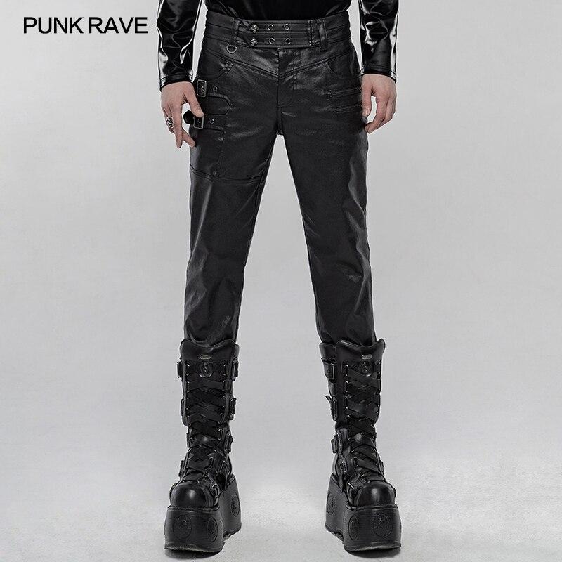 PUNK RAVE Men's Punk Imitation Leather Handsome Pants Daily Casual Zipper Bag Decoration Men Fashion Pencil Trousers Street Wear
