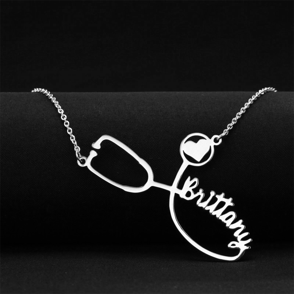 Lemegeton Custom Stethoscope Name Necklace Personalized Gold Silver Stainless Steel Necklaces For Doctor Nurse New Year Gift