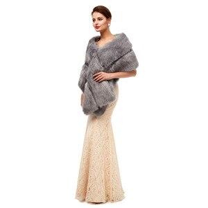 Image 4 - Gray Wedding Fur Shawl Wedding Dress Wrap Adults Formal Jackets Luxury Bridal Cape Accesories Bride Women Fur Bolero 2020