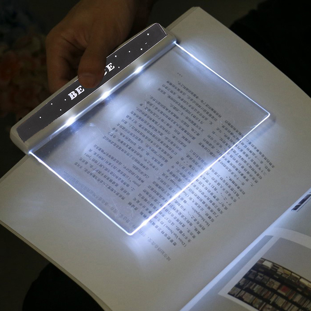 LED Flat Night Vision Book Light Creative Travel Panel Reading Lamp Portable Eye Protection Reading Light for Office Dormitory