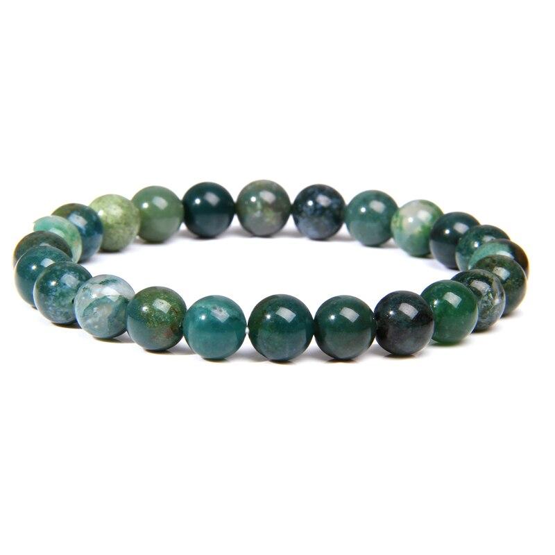 Handmade Natural Stone African Turquoises Beads Bracelet Men Yoga Mala Jewelry Green Moss Agates Beaded Bracelet for Women Men