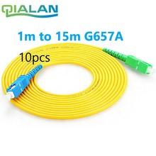 10pcs SC APC to SC UPC Patchcord G657A Fiber Patch Cable, Jumper, Patch Cord Simplex 2.0mm SM FTTH Patchcord