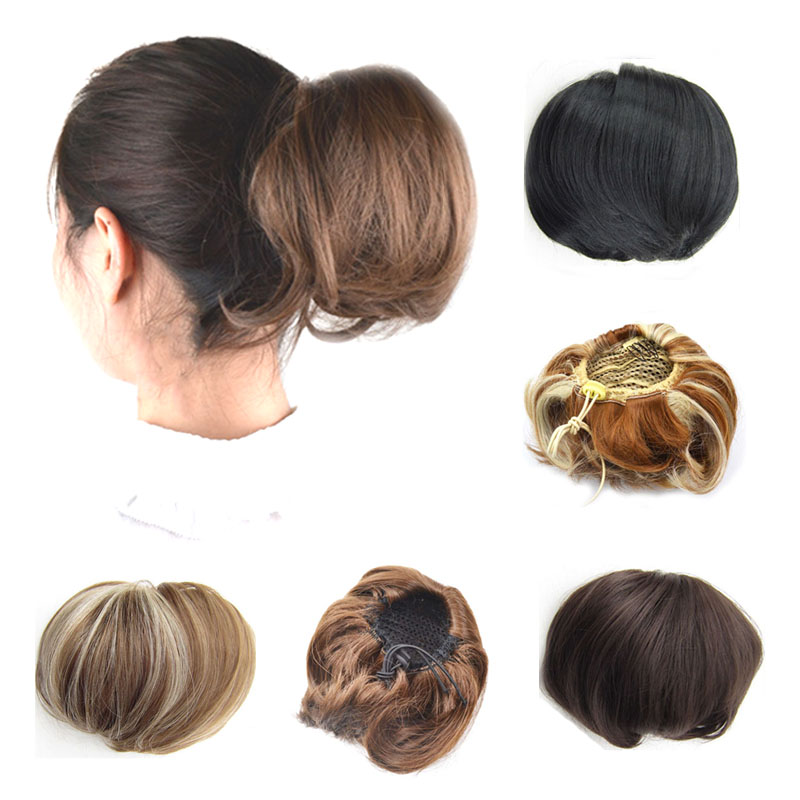 Jeedou Synthetic Straight Hair Bun Donut Drawstring Chignon Clip on Cover Updos Women's Hairpiece