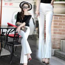 Women Pants 2020 Spring Summer Casual OL High Waist White Black Pants Elegant Office Flare Trousers E917(China)
