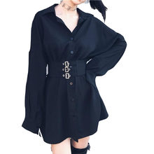 Kawaii Hoodie Sukienki Long Sweatshirt Dress Women Black Punk Gothic Hoodies Hoody Ladies Zip-up 2019 Autumn Cute Hoodies DV26(China)