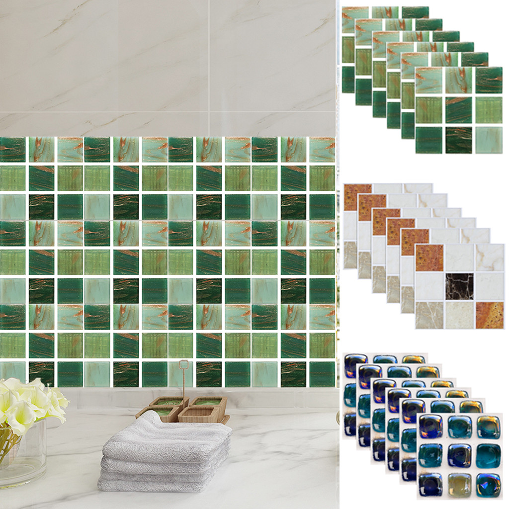 6Pcs//set 3D Mosaic Self-adhesive Wall Stickers Home Bathroom Kitchen Tile Decals