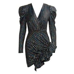 Image 5 - אהבה & לימונדה סקסי עמוק V צוואר בועה ארוך שרוול פרע Slim Slim פאייטים גמישות המפלגה מיני שמלת LM82010