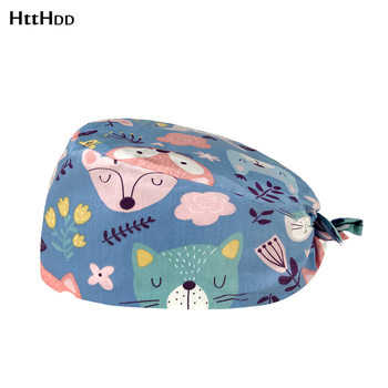 Hot sell adjustable Elastic Bule background Animal Cartoons print scrub cap beauty salon Health Testing Institute work hat