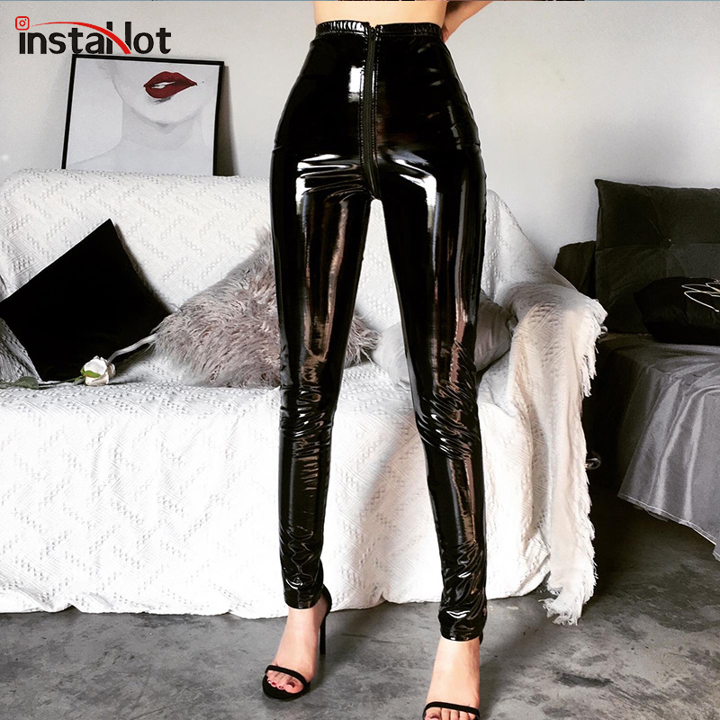 InstaHot Black Leather Pants Painted Zipper Back Women Skinny Pencil Shiny Trousers Ladies Women Casual High Street Capris Pants