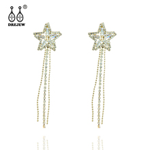 DREJEW Double Star Rhinestone Long Tassel Gold Silver Statement Earrings 925 Drop Sets for Women Wedding Jewelry HE2131