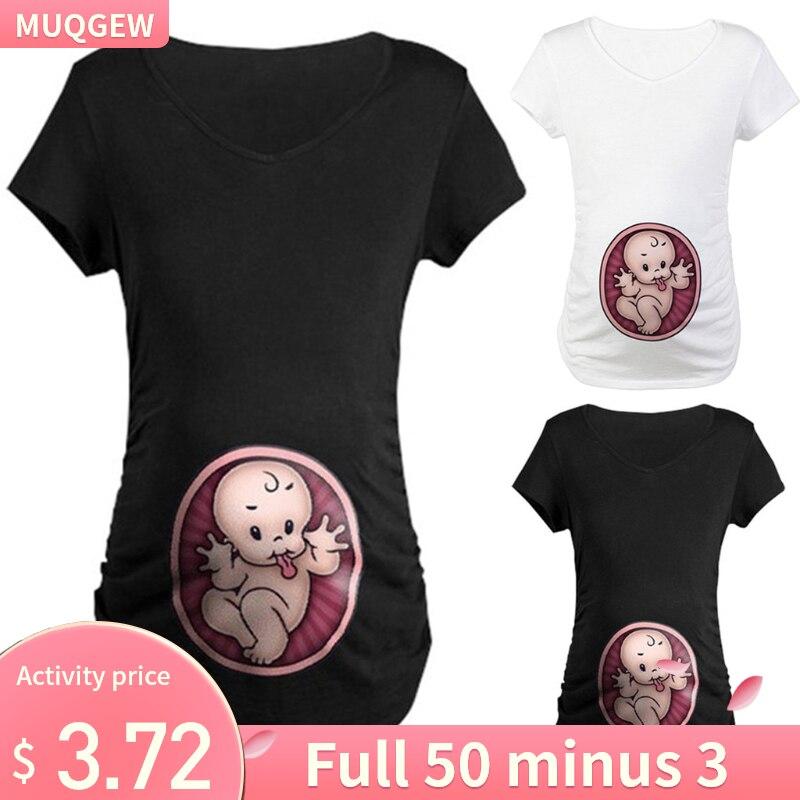 MUQGEW Pregnancy ShirtMaternity Cute Baby Print  O-Neck Short Sleeve T-shirt Pregnant Tops Ropa Embarazada Verano Zwanger