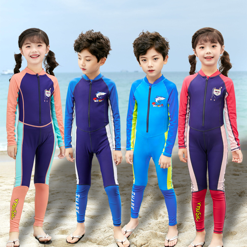 KID'S Swimwear Sun-resistant Girls One-piece Long Sleeve Swimwear BOY'S Diving Suit Surf Wear Big Boy GIRL'S
