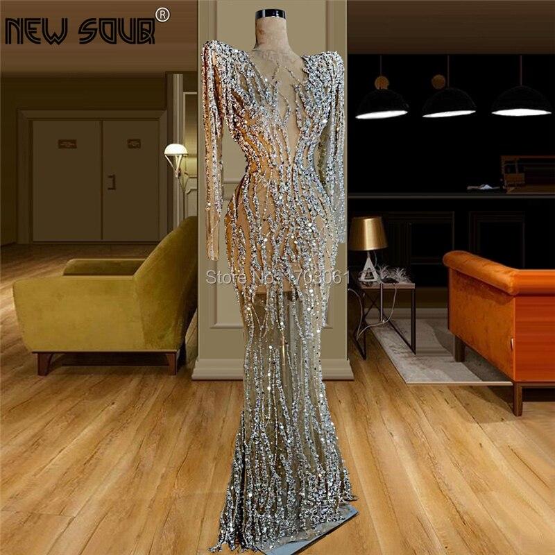 Sheer Diamond Beading Evening Dresses For Dubai Arabic 2020 Robe De Soiree Long Handmade Prom Dress Middle East Celebrity Party
