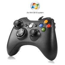 USB kablolu titreşim Gamepad Joystick PC denetleyicisi için Windows 7 / 8 / 10 Xbox 360 Joypad oyunları sıcak satış siyah beyaz