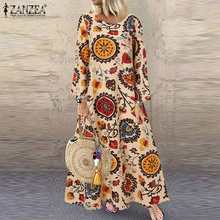 ZANZEA 2021 abito lungo stampato caftano abito estivo floreale da donna manica lunga abiti donna Casual primavera Robe Femme Overszied