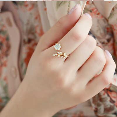 حار موضة خواتم قابل للتعديل الذهب اللون والفضة مطلي التمني زهرة يترك والفروع خواتم الاصبع للنساء مجوهرات الزفاف