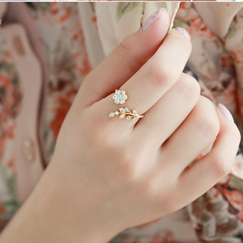 Hot Fashion Adjustable Rings Gold Color&Silver Plated Wishful Flower Leaves and Branches Finger Rings For Women Jewelry Wedding image