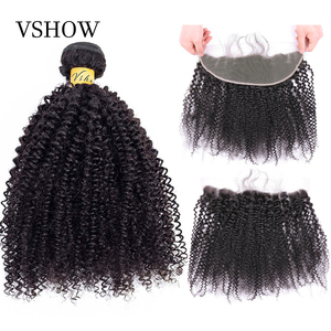 Afro Kinky Curly Bundles With Closure 13x4 VSHOW 100% Remy Human Hair Weave Mongolian Afro Kinky Curly Hair Bundles With Frontal(China)